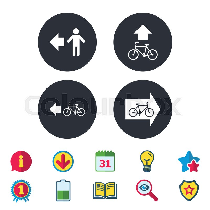 Pedestrian Road Icon Bicycle Path Trail Sign Cycle Path Arrow