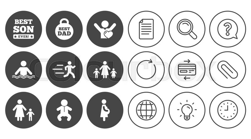 People, family icons. Swimming, baby and pregnant woman signs. Best dad, runner and fan symbols. Document, Globe and Clock line signs. Lamp, Magnifier and Paper clip icons. Vector, vector