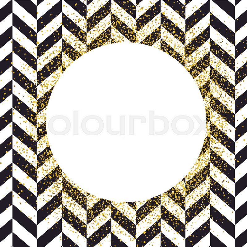 Invitation card design template. Chevron black pattern and golden ...