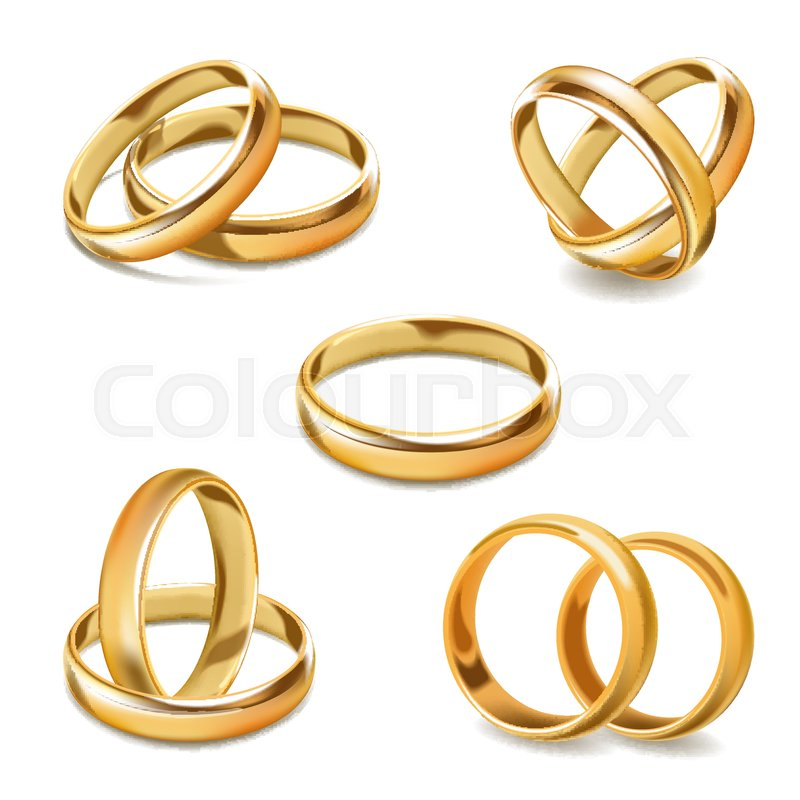 Gold wedding rings vector 3D realistic icons. Isolated set of gold ...