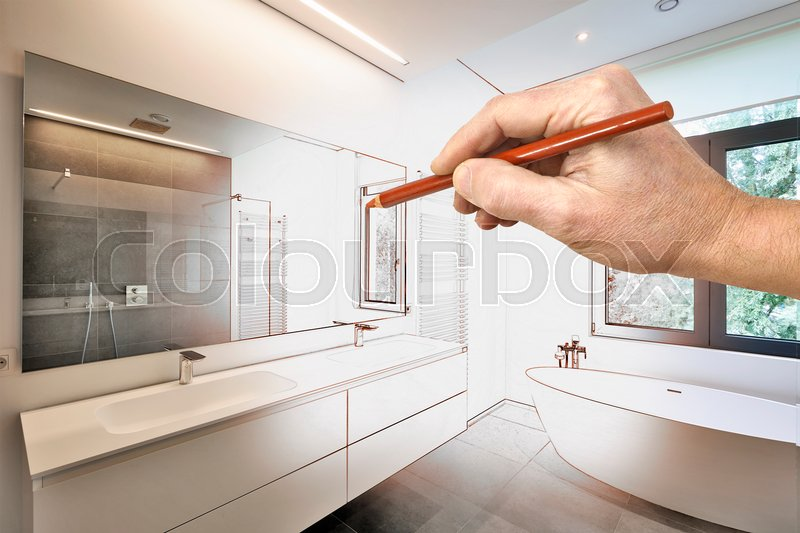 Drawing Renovation Of A Luxury Modern Bathroom Bathtub In Corian Faucet And Shower Tiled With Windows Towards Garden