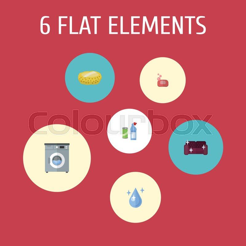 Flat Icons Sofa Aqua Foam And Other Vector Elements Set Of