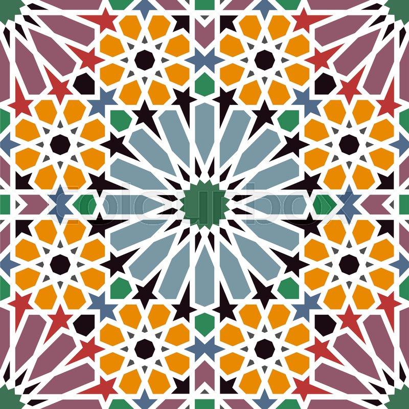 Traditional Arabian Mosaic Tile Seamless Pattern Vector Ilration