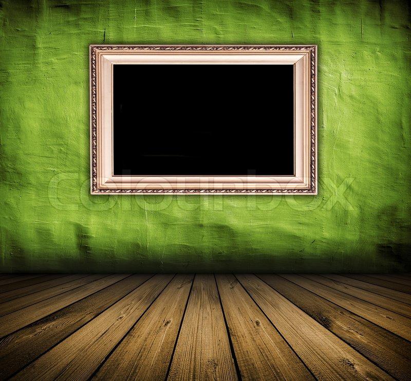 dunkle vintage green zimmer mit holzfu boden und rahmen mit schwarzen kopie platz an der wand. Black Bedroom Furniture Sets. Home Design Ideas