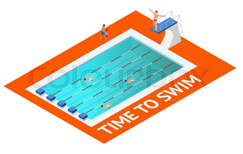 Isometric people diving into water in to the swimming pool, diver. Female swimmer, that jumping and diving into indoor sport swimming pool. Sporty woman, vector