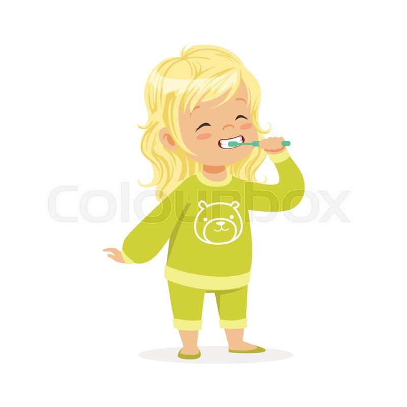 beautiful cartoon blonde girl in a green pajamas brushing her teeth rh colourbox com blonde cartoon girl hair cartoon blonde girl character