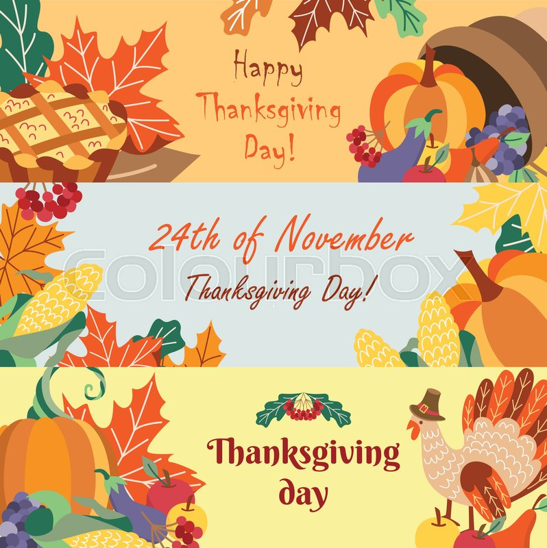 Set Of Happy Thanksgiving Greeting Banners With Cartoon Symbols Of