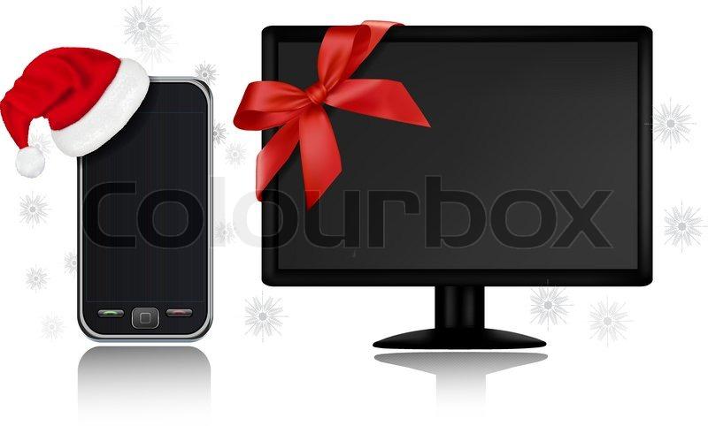 weihnachten handy mit nikolausm tze geschenk und monitor mit band vektorgrafik colourbox. Black Bedroom Furniture Sets. Home Design Ideas