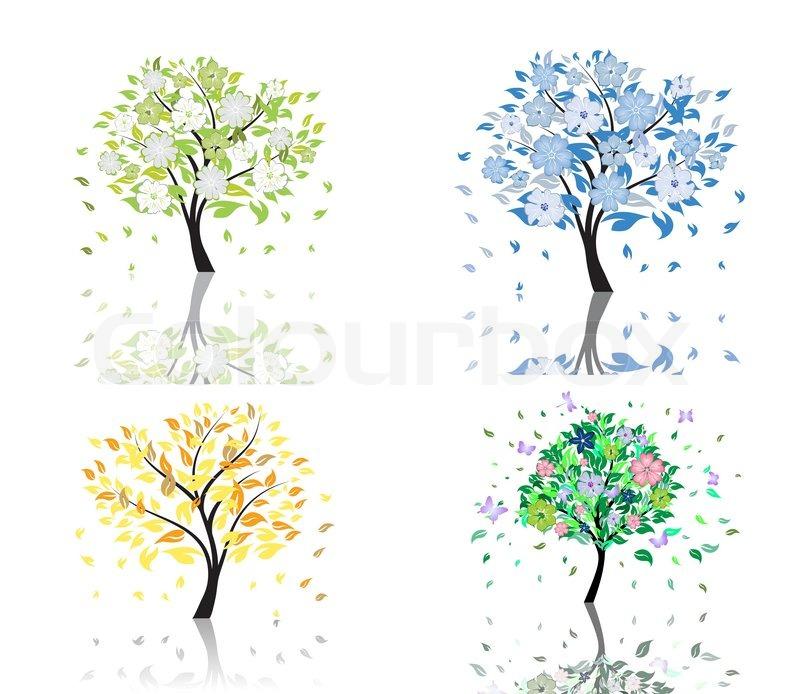 Summer Tree Cartoon Set of Beautiful Summer Tree