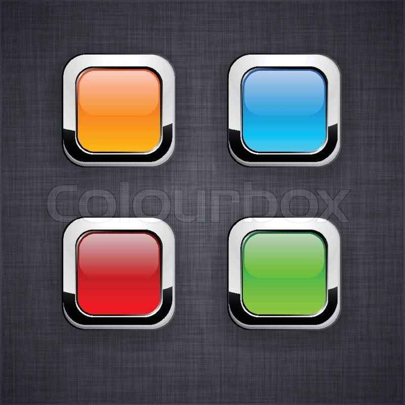 Blank 3d square buttons on linen texture | Stock Vector ...