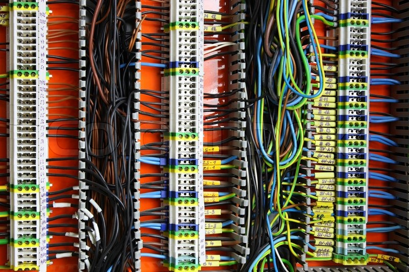 Color wires in a box of distribution of an electricity | Stock ...