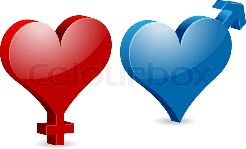 Venus And Mars Heart Shaped Valentines Female And Male Symbols