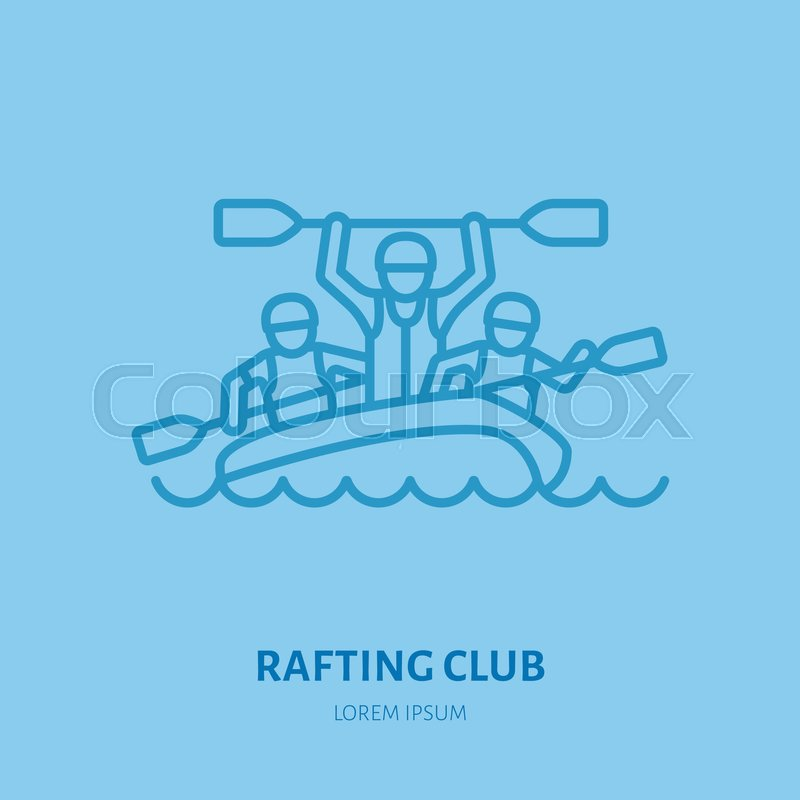 Rafting, kayaking flat line icon. Vector illustration of water sport - happy rafters with paddles in river raft. Linear sign, summer recreation pictograms for paddling gear store, vector