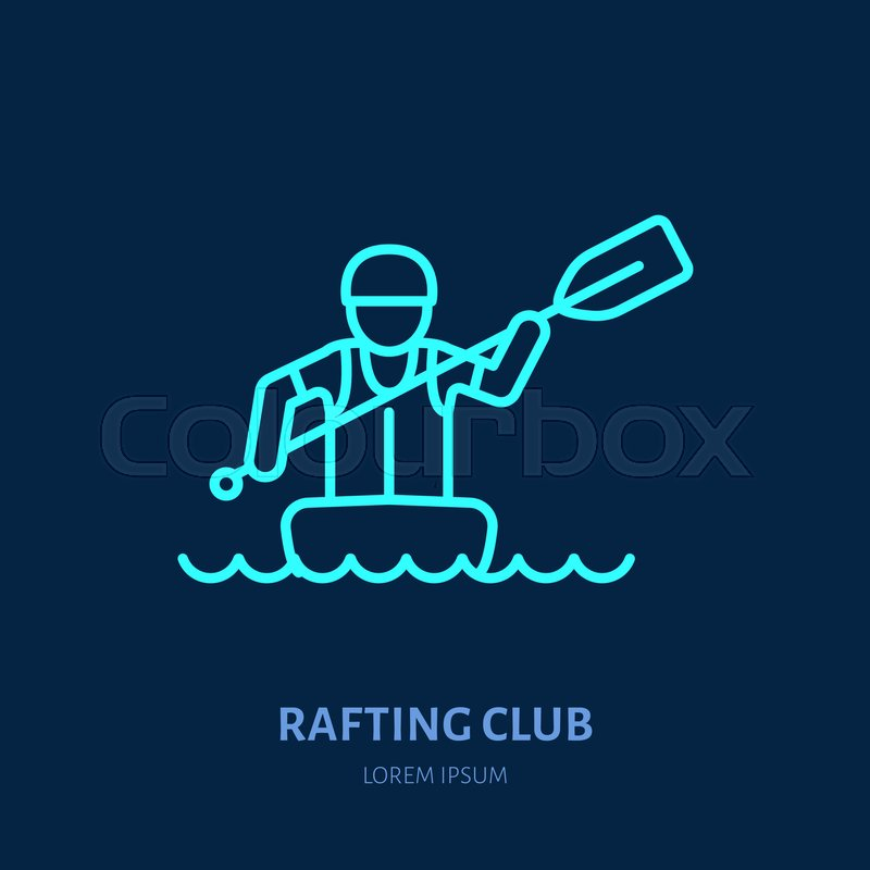 Rafting, kayaking flat line icon. Vector illustration of water sport - rafter with paddle in river raft. Linear sign, summer recreation pictogram for paddling gear store, vector