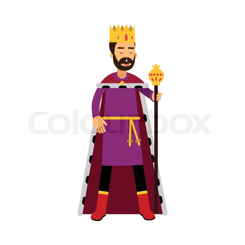 Majestic King In Gold Crown Standing Stock Vector Colourbox You don't even need jeweller's tool to make trash looks. majestic king in gold crown standing