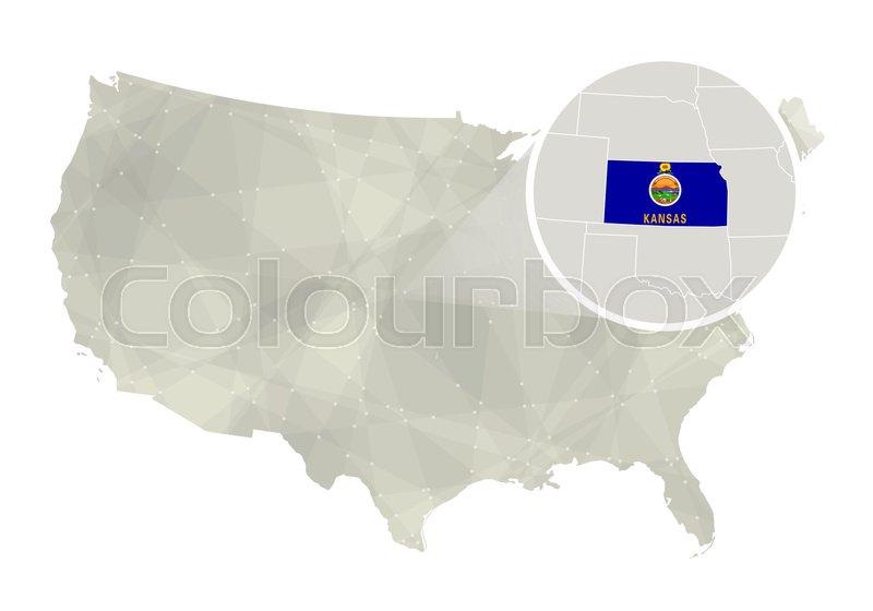 Polygonal Abstract Usa Map With Magnified Kansas State Kansas State