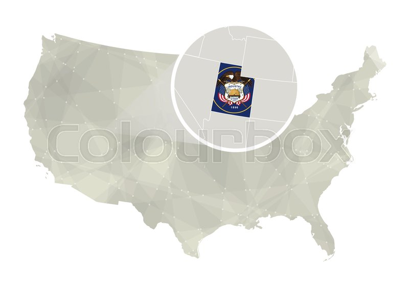 Polygonal abstract USA map with magnified Utah state. Utah state map ...