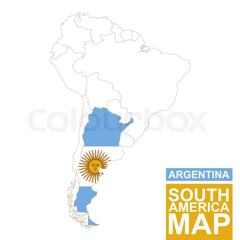 South America contoured map with highlighted Argentina Argentina