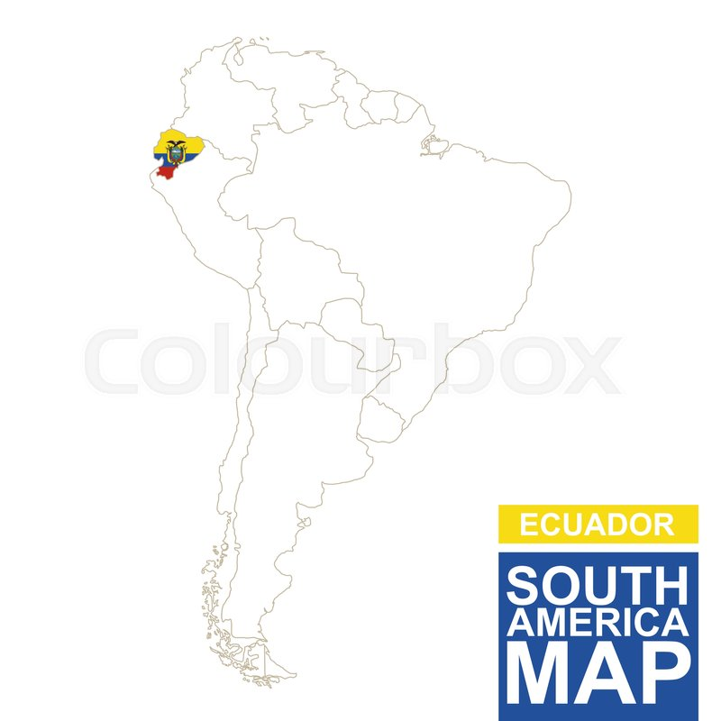 South America Contoured Map With Highlighted Ecuador Ecuador Map - Ecuador map south america