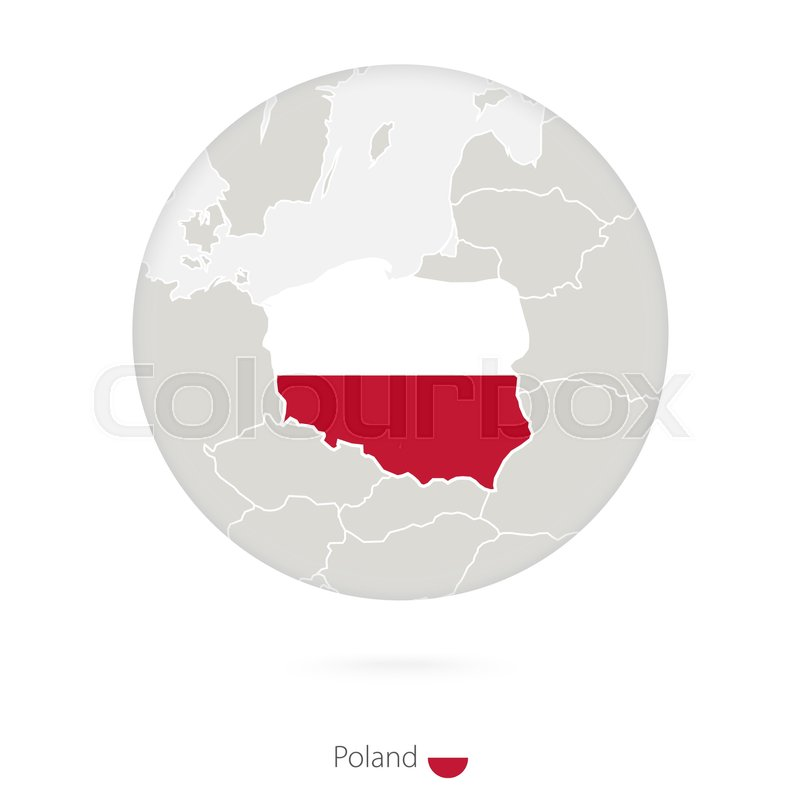 Map of Poland and national flag in a circle. Poland map contour with ...