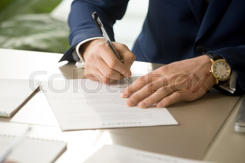 Businessman Having Signatory Right Signing Contract Concept Focus - Signing legal documents