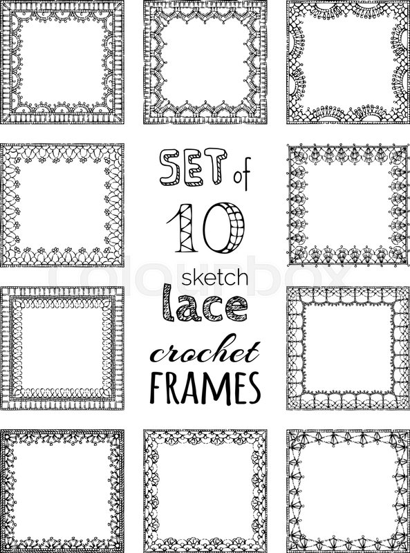 Sketch Crochet Borders Knitting Edging And Border Patterns Stock