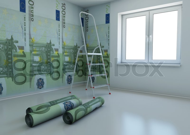 Wallpaper patterned euro as a symbol - the money for repairs | Stock Photo  | Colourbox
