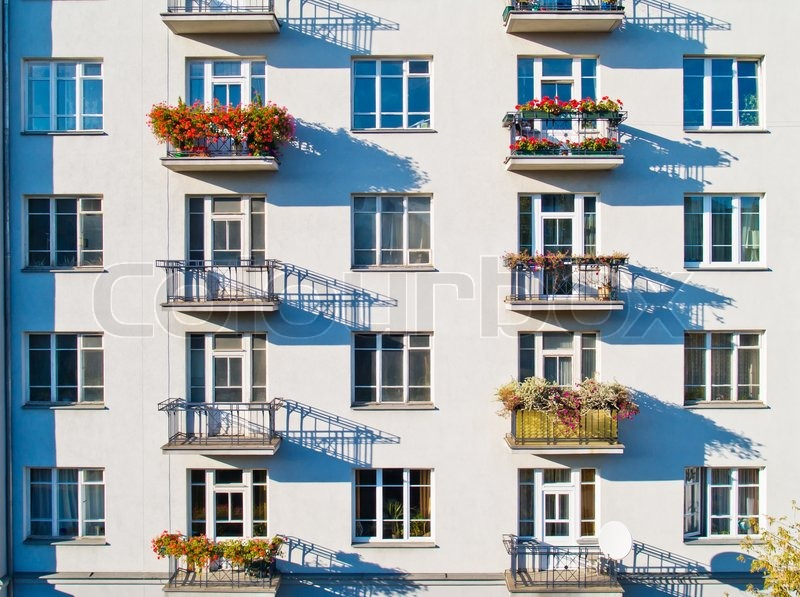Wall of modern apartment building | Stock Photo | Colourbox