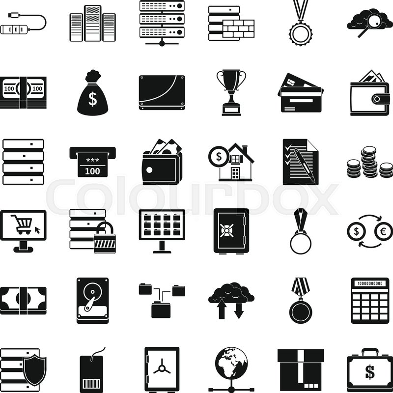 Business card icons set. Simple style of 36 business card vector ...