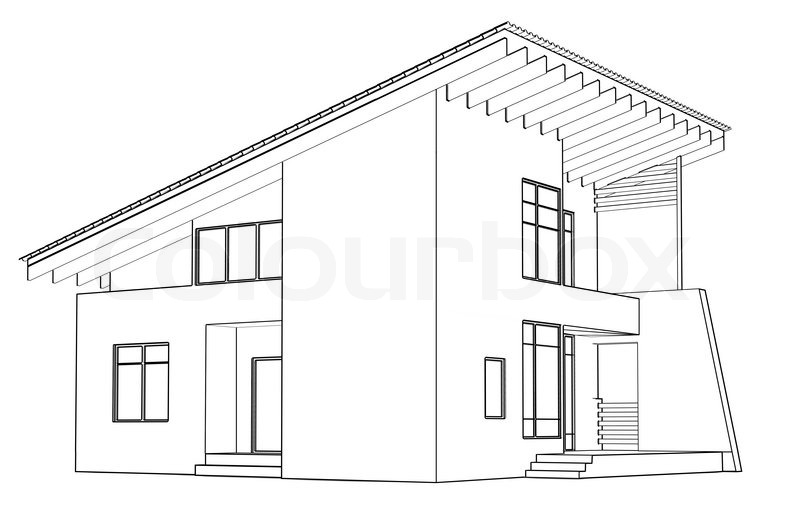 Architectural drawing at home in the perspective stock Drawing modern houses