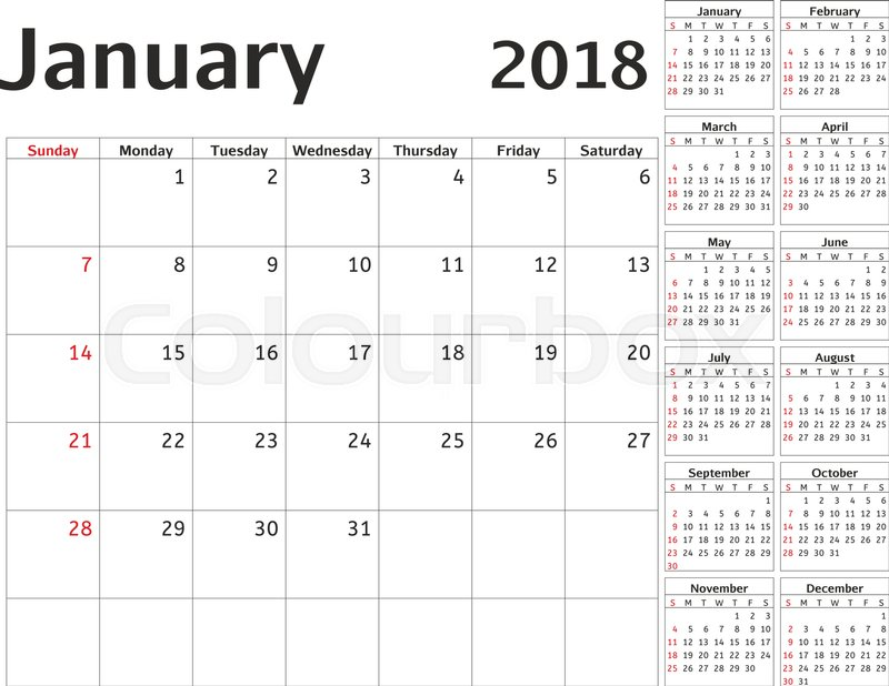 Simple Calendar Planner For 2018 Year Vector Design January
