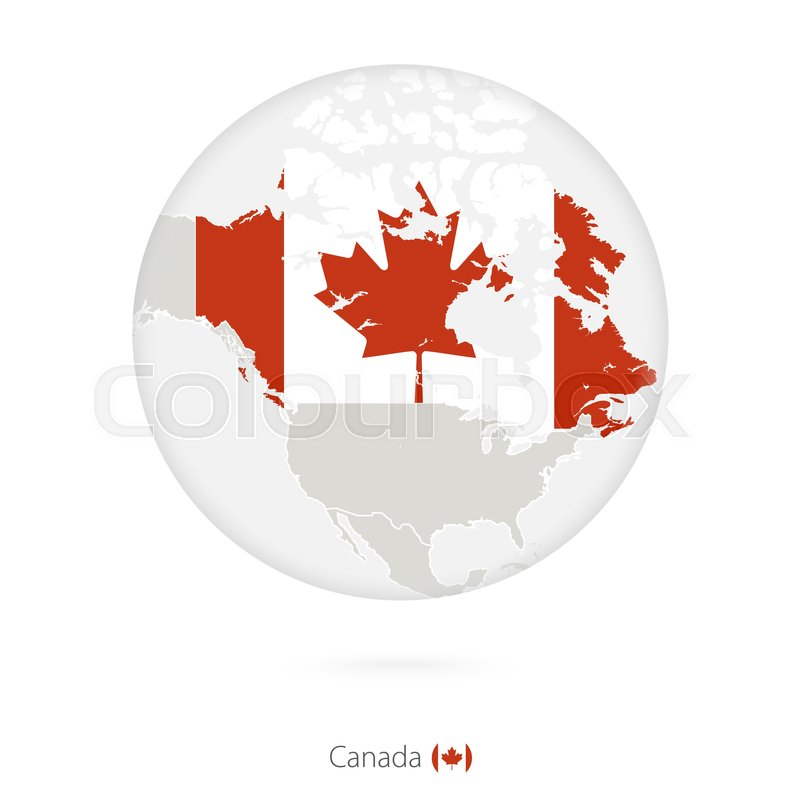 Canada Map Flag.Map Of Canada And National Flag In A Circle Canada Map Contour With