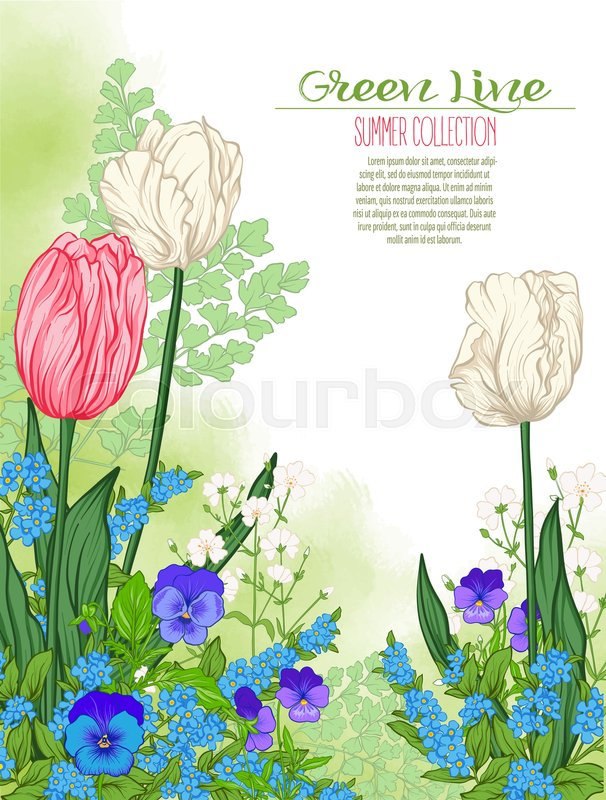 Composition with spring flowers: tulips, daffodils, violets, forget-me-nots in botanical style. Good for greeting card for birthday, invitation or banner Stock line vector illustration, vector