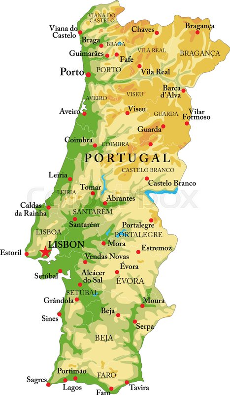Highly detailed physical map of Portugalin vector formatwith all