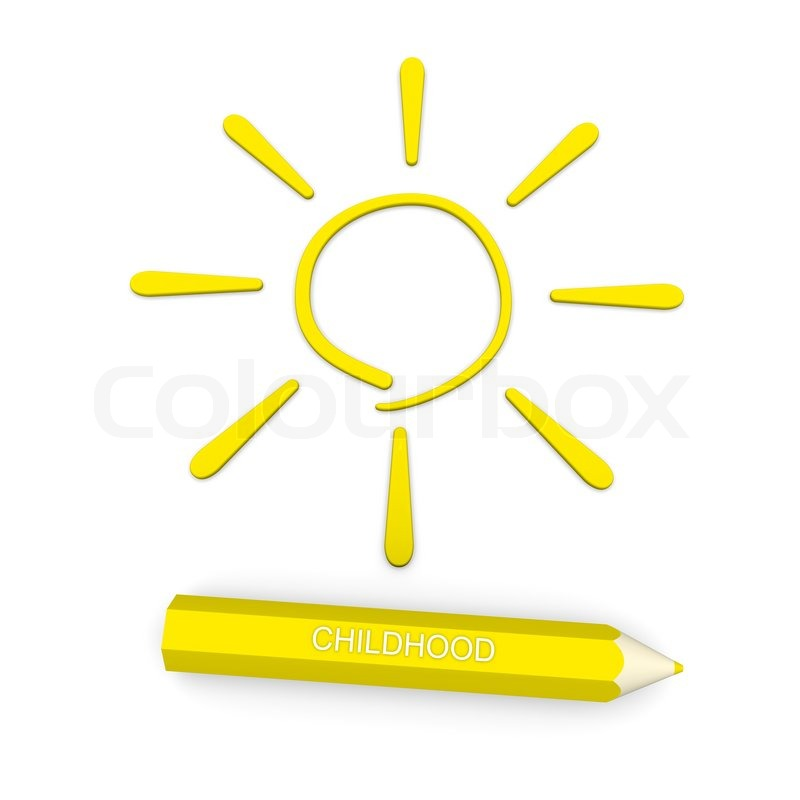 In Pencil Sign Of The Sun A Symbol Of Childhood Stock Photo