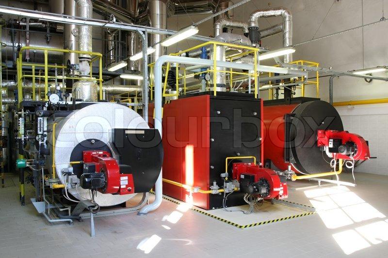 gas steam boiler  interior independent modern gas boiler
