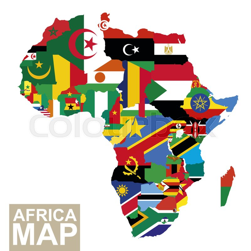Africa map. Vector map of Africa with flags. African countries flag ...
