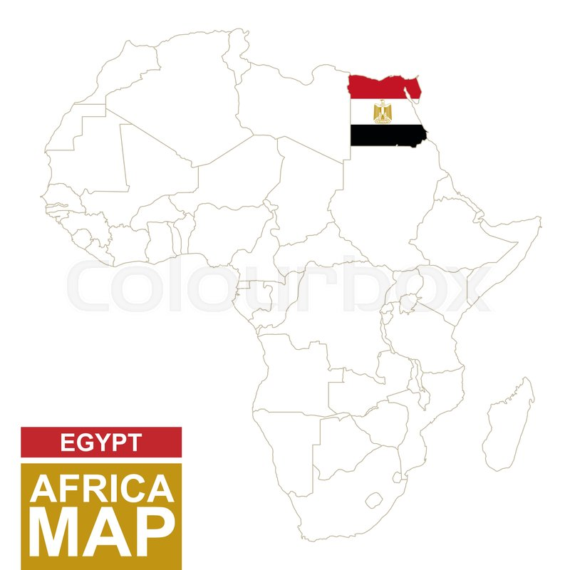 Worksheet. Africa contoured map with highlighted Egypt Egypt map and flag on