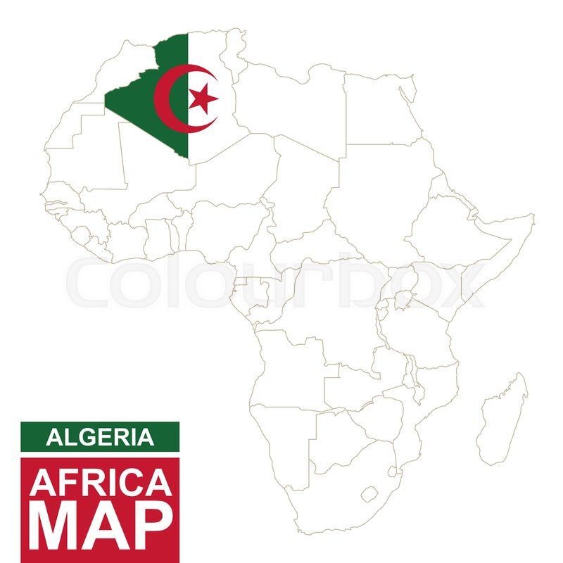 Africa contoured map with highlighted Algeria Algeria map and flag