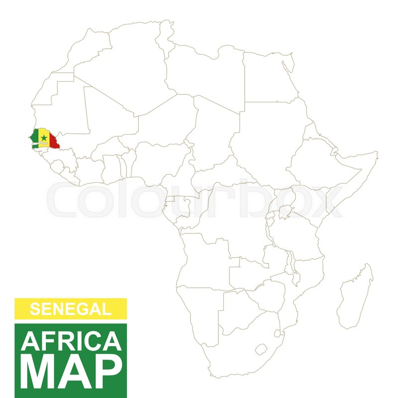 Africa Contoured Map With Highlighted Senegal Senegal Map And - Senegal map vector