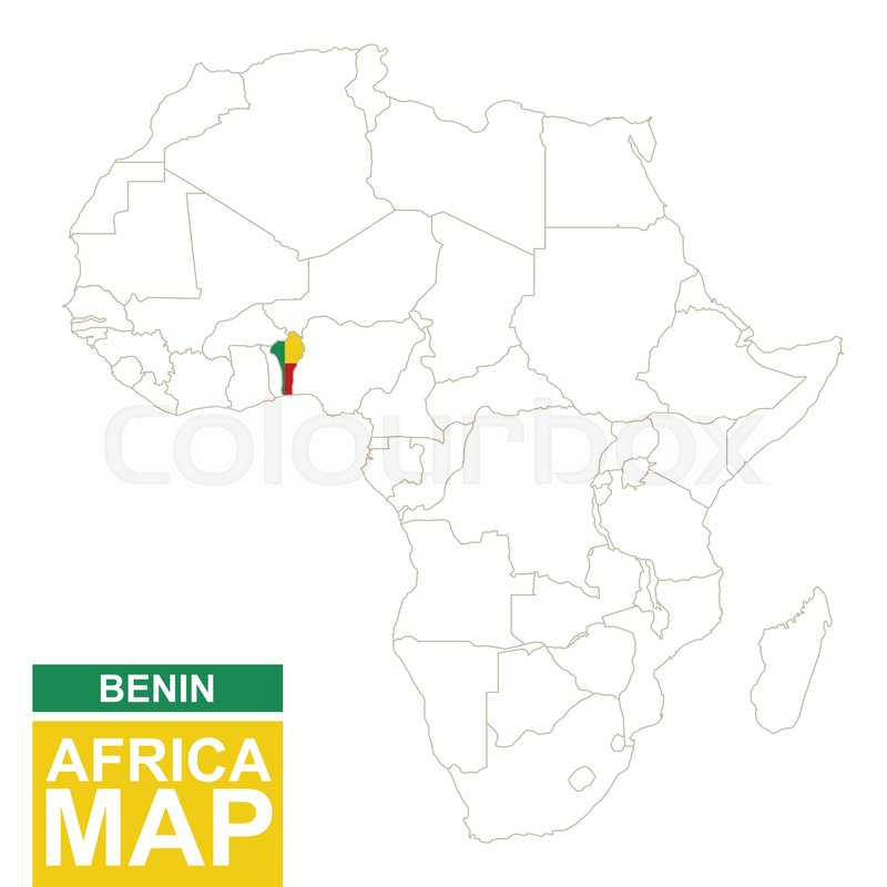 Africa Contoured Map With Highlighted Benin Benin Map And Flag On - Benin map