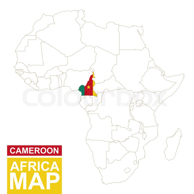 Africa contoured map with highlighted Cameroon. Cameroon map and ...