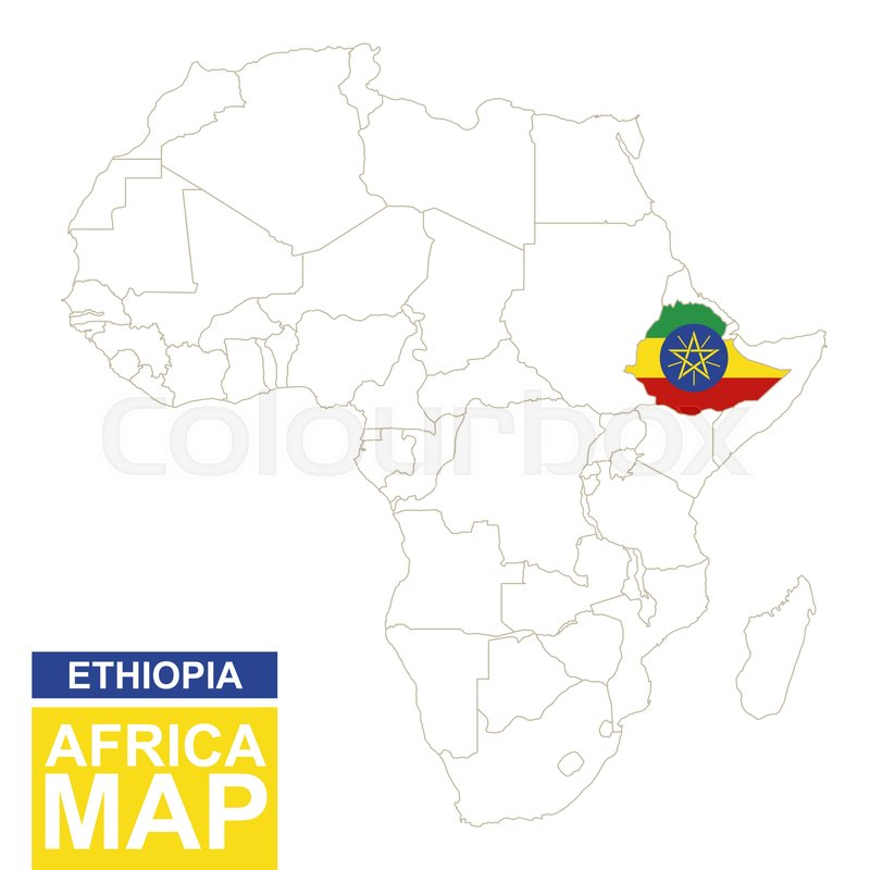 Africa contoured map with highlighted Ethiopia Ethiopia map and