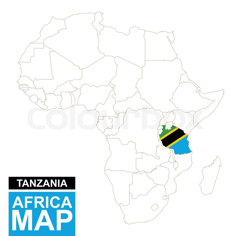 Africa contoured map with highlighted Tanzania Tanzania map and