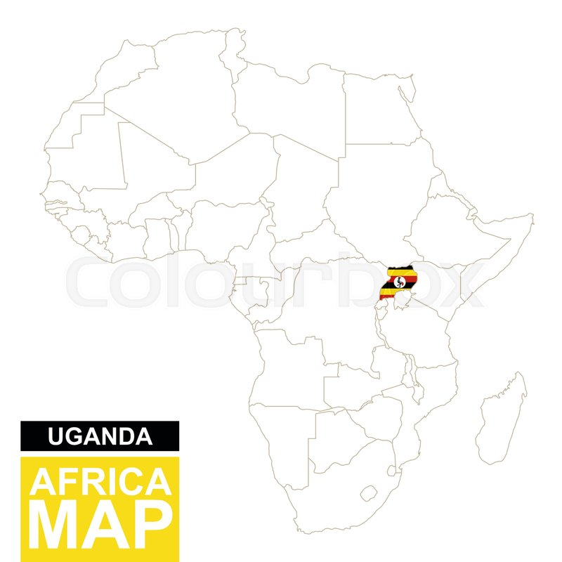 Africa Contoured Map With Highlighted Stock Vector Colourbox