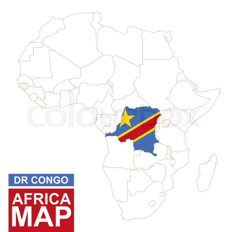 Africa contoured map with highlighted Democratic Republic of the