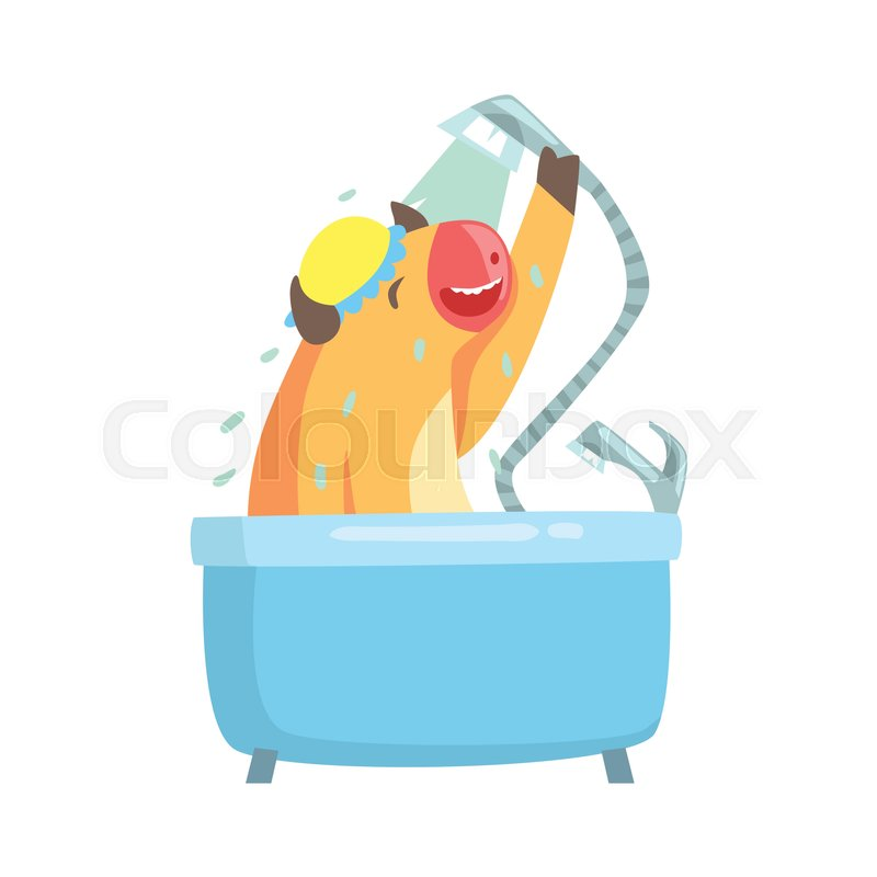 bathtub cartoon. Cute cartoon cow taking a shower in bathtub colorful character  animal grooming vector Illustration on white background Stock Vector Colourbox