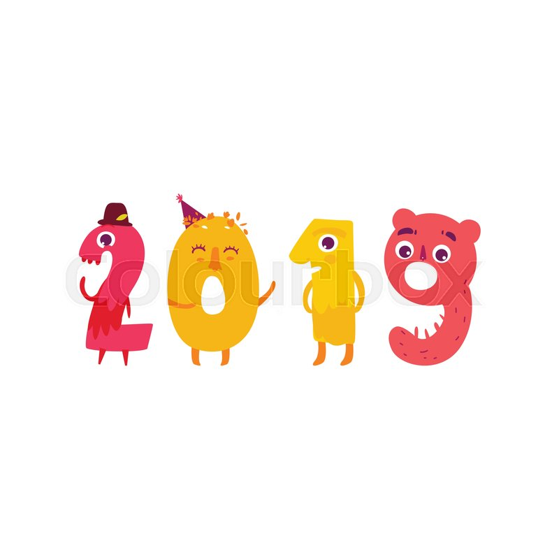 Vector Cute Animallike Character Number 2019. Flat Cartoon