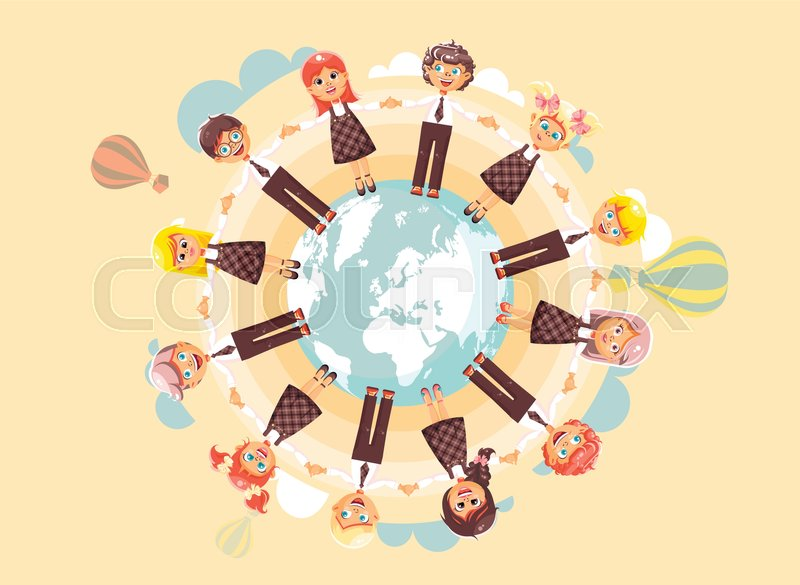 Stock vector illustration cartoon characters children holding hands stock vector illustration cartoon characters children holding hands and standing in circle of planet earth globe world map children s day drive roundelays gumiabroncs Images