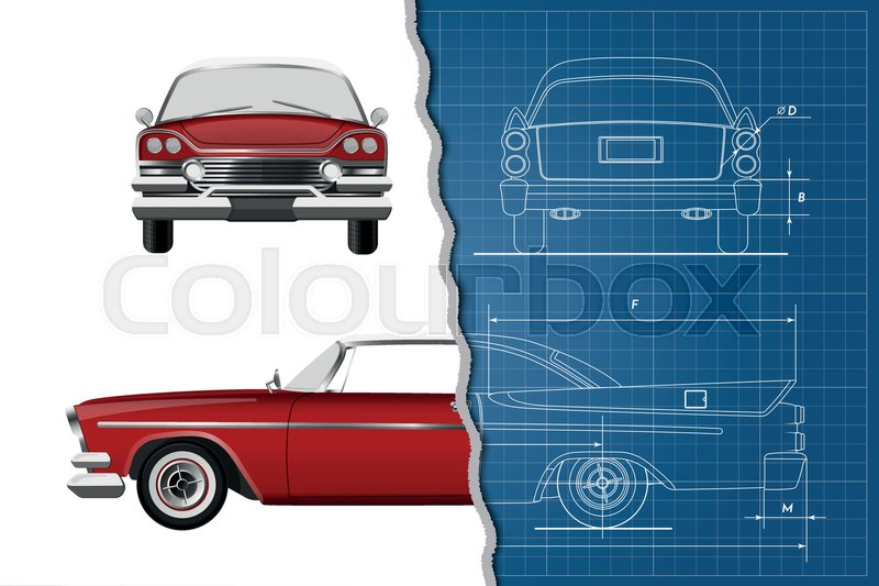 Engineering blueprint of retro car vintage cabriolet front side stock vector of engineering blueprint of retro car vintage cabriolet front side malvernweather Gallery